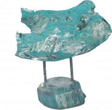 Wurzelholz Schale mit Ständer ca. 25cm frosted türkis (2 Stück)
