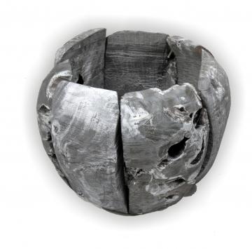 Wurzelholz Topf ca. 20cm blackwashed (4 Stück)