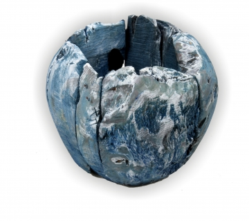 Wurzelholz Topf ca. Ø 20cm in Frosted Blau (4 Stück)