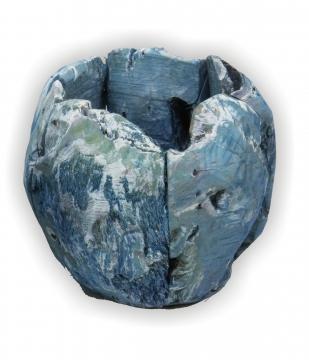 Wurzelholz Topf ca. Ø 25cm in Frosted Blau (4 Stück)