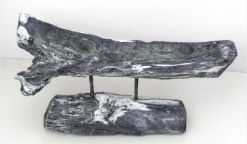 Wurzelholz Schale lang mit Ständer ca. 60cm blackwashed (2 Stück)