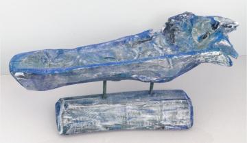 Wurzelholz Schale mit Ständer ca. 60cm lang in Frosted Blau (2 Stück)