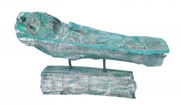 Wurzelholz Schale mit Ständer ca. 60cm lang in Frosted Türkis (2 Stück)