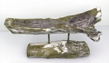 Wurzelholz Schale lang mit Ständer ca. 60cm frosted oliv (2 Stück)