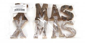 Rindenholz X-MAS Schriftzug in Stonewashed & Natur ( 8 tlg. )