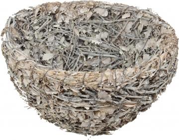 Stabile Schale aus Eichenzweigen gebunden rund Ø 35cm H16cm in Stonewashed