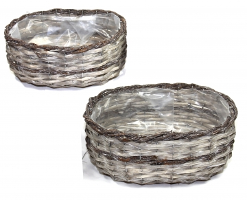 Weiden Pflanzkorb 2er Set oval [Ø 25cm + Ø 27cm H13cm] in Stonewashed bicolor mit Pflanzfolie