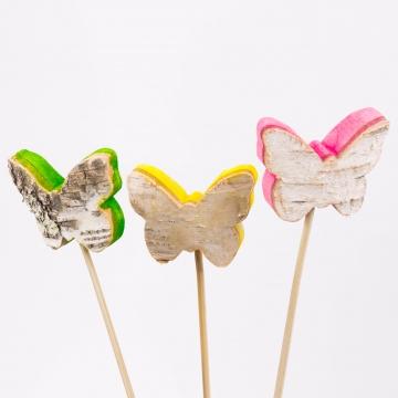 Rindenholz Deko Stecker Schmetterling mit farbiger Schnittkante ca. 5cmx6,5cm [Set mit 3 Stück]