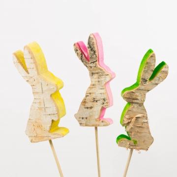 Rindenholz Deko Stecker Hase mit farbiger Schnittkante ca. 12cm hoch [Set mit 3 Stück]