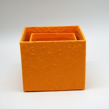 Blumen Boxx 2er Set in Orange mit Folie innen [10x10x12cm / 8x8x10cm]