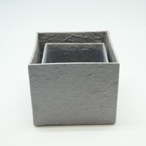 Blumen Boxx 2er Set in Grau mit Folie innen [10x10x12cm / 8x8x10cm]