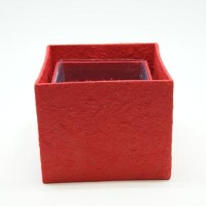 Blumen Boxx 2er Set in Rot mit Folie innen [10x10x12cm / 8x8x10cm]