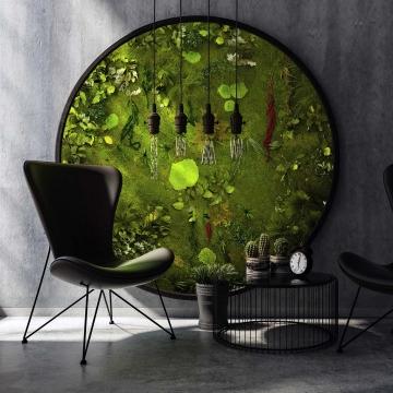 Moosbild ´Rund Nature Eye London´ No. 2 Ø 200cm Pflanze auf Holzfaserplatte anthrazit -