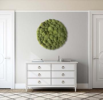 Moos•Moos Organic Rundbild aus `Ballenmoos´ präpariert in Apfelgrün mit Edelstahlrahmen ( Ø 70cm )