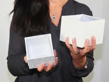 Blumen Boxx 2er Set in Weiß mit Folie innen ( 10x10x12cm + 8x8x10cm ) (10 Stück)
