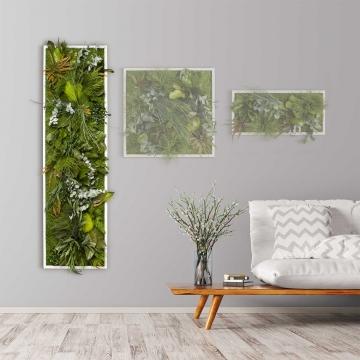 Moosbild ´Dschungel´ 140 x 40cm mit weißem Tischlerrahmen
