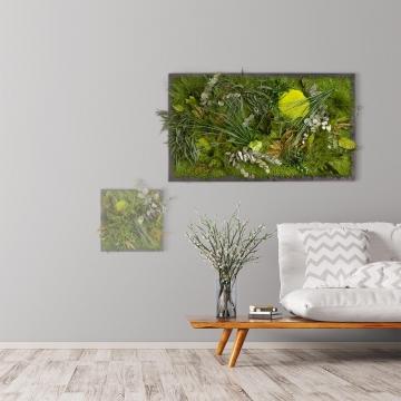 Moosbild ´Dschungel´ 100 x 60 cm auf Holzfaserplatte anthrazit