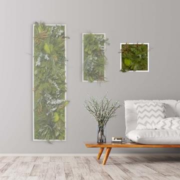 Moosbild ´Dschungel´ 35 x 35cm mit weißem Tischlerrahmen