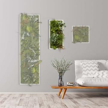 Moosbild ´Dschungel´ 57 x 27cm mit weißem Tischlerrahmen