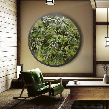Moosbild ´Rund Nature Eye London´ No. 1 Ø 200cm Dschungel auf Holzfaserplatte anthrazit -