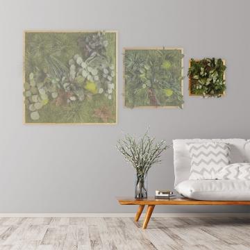 Moosbild ´Dschungel´ 35 x 35 cm mit Rahmen aus geölter Lärche