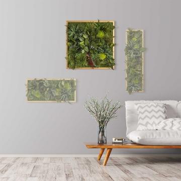Moosbild ´Dschungel´ 55 x 55 cm mit Rahmen aus geölter Lärche