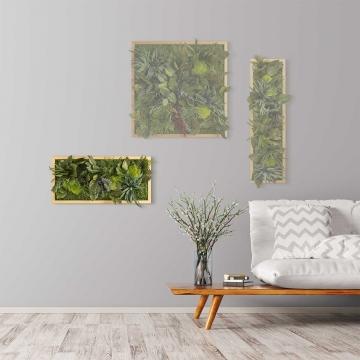 Moosbild ´Dschungel´ 57 x 27 cm mit Rahmen aus geölter Lärche