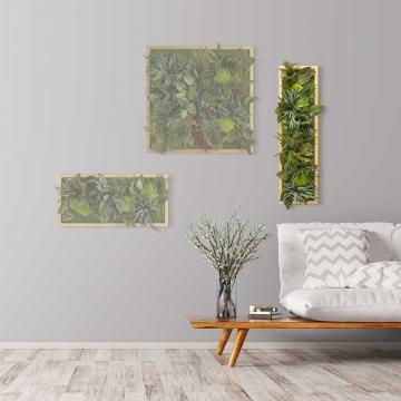 Moosbild ´Dschungel´ 70 x 20 cm mit Rahmen aus geölter Lärche