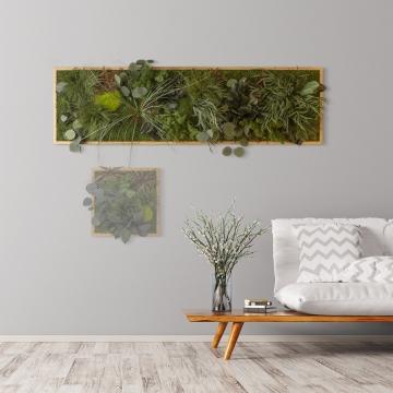Moosbild ´Dschungel´ 140 x 40 cm mit Rahmen aus geölter Lärche