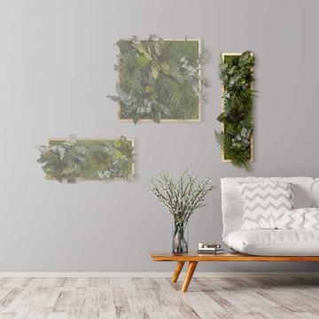 Moosbild ´Dschungel´ 70 x 20 cm mit Rahmen aus geölter Eiche
