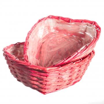 Weidenkorb 2er Set Herz [Ø23 und Ø 28cm H ca. 7cm] in Rot mit Pflanzfolie [2 Stück] (6 Stück)