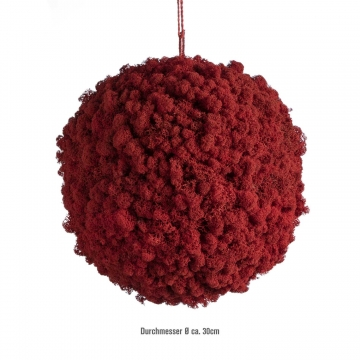 Moos Ball aus Islandmoos in Chili / Rot Ø 30cm