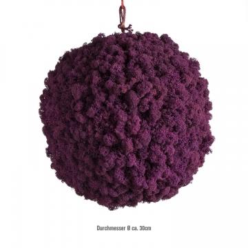 Moos Ball aus Islandmoos in Purpur / Lila Ø ca. 38cm
