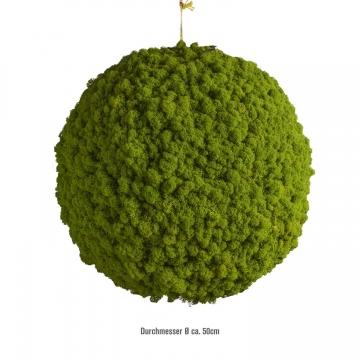 Moos Ball aus Islandmoos in Apfelgrün / Hellgrün Ø 50cm