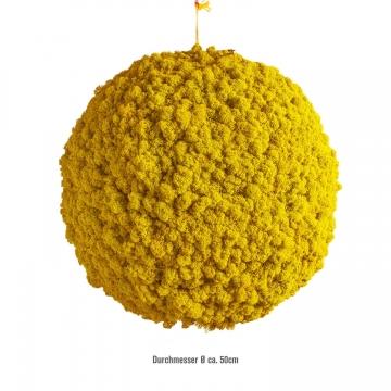 Moos Ball aus Islandmoos in Sonnengelb Ø 50cm