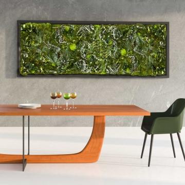 Moos•Moos Dschungel Moosbild mit Waldmoos und Pflanzen präpariert in grün mit Holzrahmen ( 182 x 82,5cm ) inkl. Aufbewahrungskiste