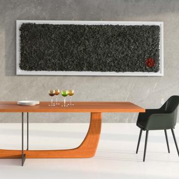 Moos•Moos Organic Moosbild ´Perserteppich´ aus Islandmoos präpariert in Persergrau mit Holzrahmen ( 182 x 82,5cm ) inkl. Aufbewahrungskiste