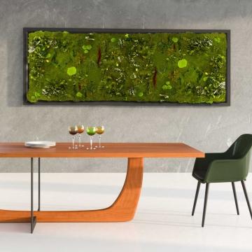 Moos•Moos Pflanzen Moosbild mit Waldmoos und Pflanzen präpariert in Grün mit Holzrahmen ( 182 x 82,5cm ) inkl. Aufbewahrungskiste