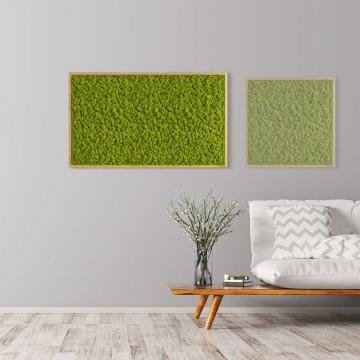 Moosbild Islandmoos 100 x 60 cm mit Tischlerrahmen aus geölter Eiche