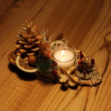 Oppacher Kerzen-Tischgesteck klein in stonewashed