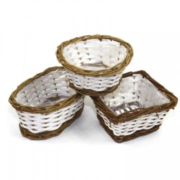 Körbchen Set in Weiß / Natur ( rund, oval & eckig mit Pflanzfolie ) (36 Stück)