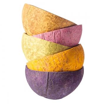 Kokosschale Becher Set in Farbe 6 Farben je 2 Stück [ca. Ø 10-13cm]