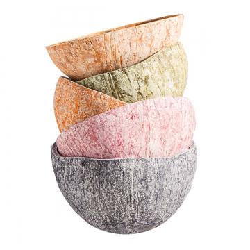 Kokosschale Becher Set in Spring ( 6 Farben je 2 Stück - ca. Ø 10-13cm )