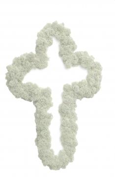 35`er Kreuz Moosteil Rand gesteckt (12 Stück)