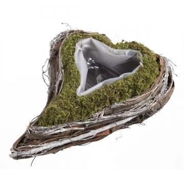 Pflanzgefäß Herz geschwungen aus Moos und Rebe  [22x28x8cm] mit Pflanzfolie (18 Stück)