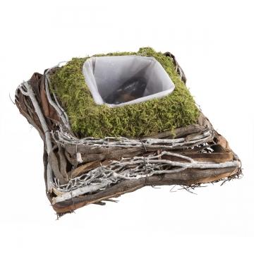 Pflanzgefäß Kissen aus Moos und Rebe mit Pflanzfolie  ( 25x25x9 cm ) (9 Stück)