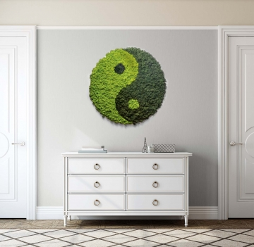 Moosbild ´Rund´ Ying Yang Islandmoos Ø70cm
