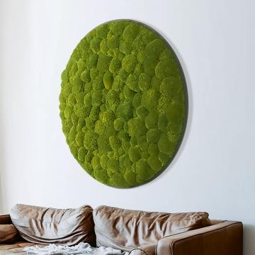 Moosbild ´Rund´ Kugelmoos in Grün Ø 118cm auf Holzfaserplatte Anthrazit