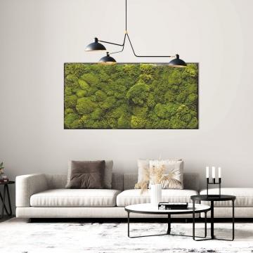 Moosbild Polstermoos / Bärenfell 182 x 82,5 cm auf Holzfaserplatte anthrazit