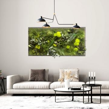 Moosbild Dschungel 182 x 82,5 cm auf Holzfaserplatte anthrazit